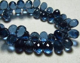 8 inches -  Amazing - Gorgeous - London Blue Colour- Quartz Super Sparkle - Faceted Tear Drops Briolett Huge Size - 9 - 11 mm Long