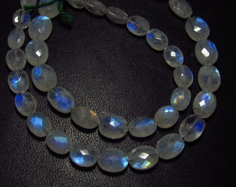 41 Pcs - AA - Quality So Nice - Rainbow Moonstone - Faceted Oval Briolettes Nice Flashy Strong Fire size - 5x7 - 8x11 mm
