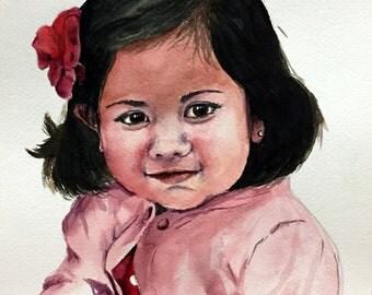 Custom Baby Portrait - 8x10 - original painting - artwork, kids, girl, boy, gift, commission