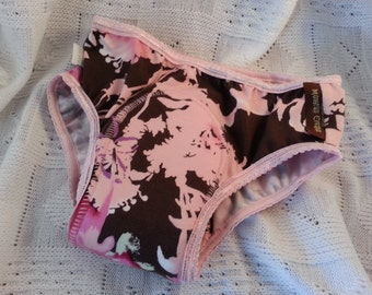 NEW COLOR - Bamboo Toddler Girls Training Underwear with Waterproof Pad - Pink and Brown Floral - Hermosa 3023