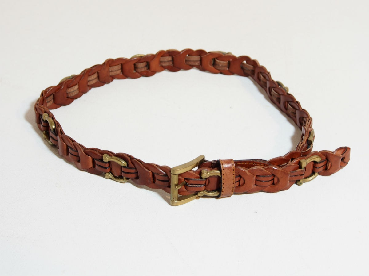 vintage brown leather woven waist belt with brass by