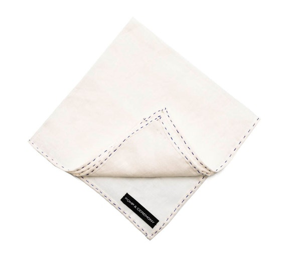 Handkerchief Linen pocket square natural white hand finished contrast stiching