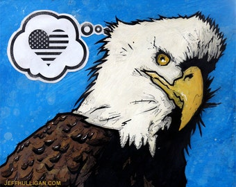 Bald Eagle - 8x10 Art Print - Love - Bird of Prey