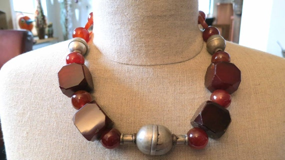 For sale! Old vintage rare cubic IDAR-OBERSTEIN cornelian agate beads and old silver Turkoman Turkmen bead necklace.