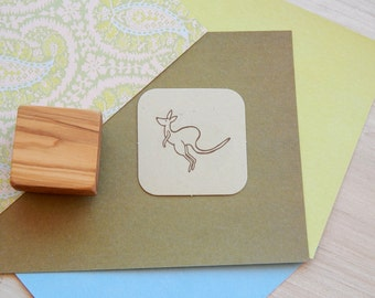 Jumping Kangaroo Olive Wood Stamp