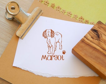 Charity Stamp Custom Working Spaniel Olive Wood Stamp