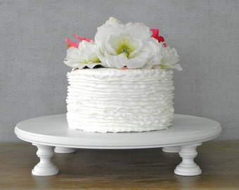 "Cake Stand 14"" Wedding Cake Stand Cupcake Round White Rustic Vintage Wedding Decor E. Isabella Designs  Featured In Martha Stewart Weddings"