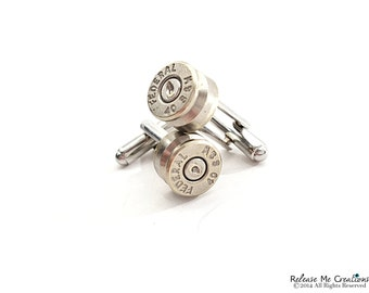 Silver Smith and Wesson Bullet Cufflinks for Him
