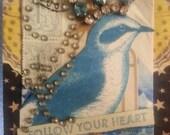 Follow your heart blue bird greeting card