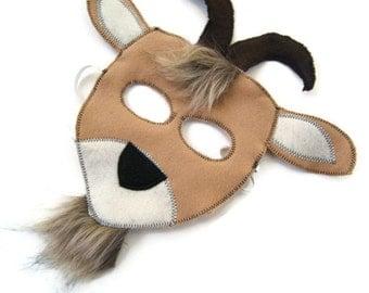 Goat Mask,  Billy Goat Mask, Dress Up, Farm Animal Birthday Party Favor, Easter Mask, Children's Halloween Costume, Adult Mask
