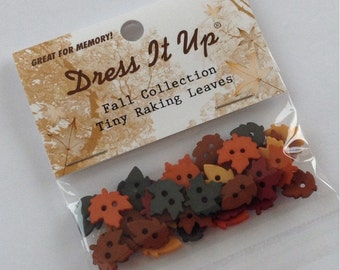 Dress it up tiny raking leaves buttons - small autumn buttons - fall leaf design - approx 30 pieces - original packaging