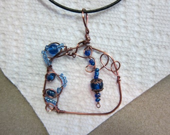 Lapis, Sapphire colored stones - Unique Free Form wire wrapped Pendant necklace w/ antique Copper non tarnish wire