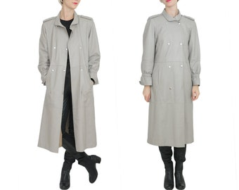 Vtg Grey Leather Trench / Military Style Long Leather Coat / S / M