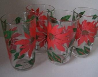 Vintage Christmas Poinsettia glasses set of 4 50s