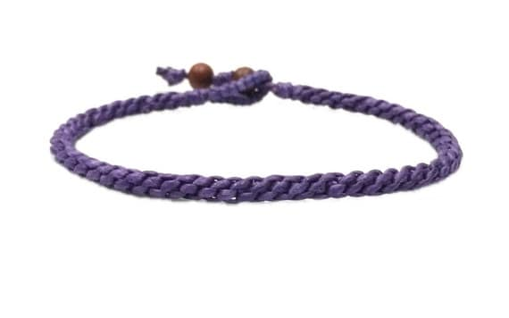 Fair Trade Classic Purple Weaved Cotton Blessed Thai Handcrafted Buddhist Wristband Bracelet