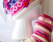 Hat and sock set, pink adult gift set, fairisle beanie, knitted beanie and socks,  ready to ship