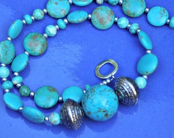 Turquoise Howlite Silver Chunky Necklace