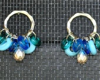 Cobalt Turquoise Blue Aquamarine Glass Donut Silver Circles Earrings