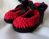 Red and Black Baby Girl Shoes