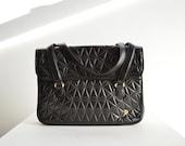 SALE / Vintage 1980s designer quilted leather handbag/briefcase