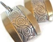 Silver Brass Inlay Earrings with Curved Sides