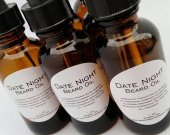 Date Night Beard Oil or Pre-Shave Treatment Oil with Jojoba and Avocado - Men's Facial Hair Product