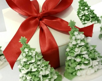 Set of Two Christmas Tree Soaps - Decorative Christmas Gift Soap - Hostess Gift Christmas Soap - Holiday Decor