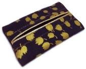 Purse Tissue Holder, Navy with Metallic Gold Dots, Kleenex Holder, Travel Tissue Cozy, Pocket Tissue Holder