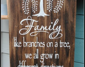 Wood sign: Family like branches on a tree...