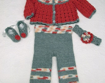 Baby Girl's Sweater And Pants Outfit