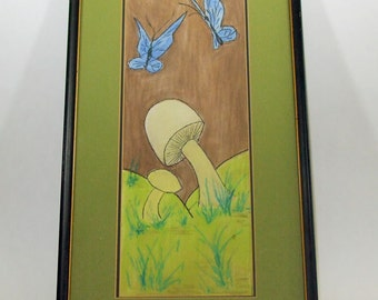 Framed and Double Matted Watercolor Blue Butterflies and White Mushrooms