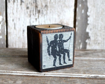 Zodiac Black Candle Holder, No. 7, Gemini. Candle Holder, Beeswax, Rustic Home Decor, Wood Candle Holder, Candle Holder, Constellation