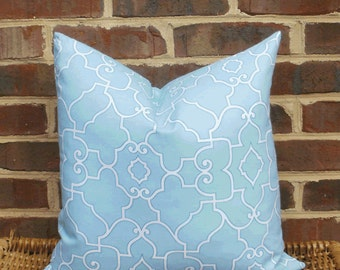 Decorative Pillow Cover: Trellis Design 18 X 18 Accent Throw Pillow Cover in Spa Blue