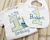 First Birthday Shirt Bib, Embroidered Personalized, Custom Colors, Boy or Girl