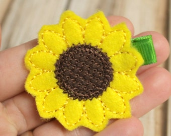 Sunflower Hair Clip, Felt Hair Clippie, Machine Embroidered, Alligator Clip, Non Slip, Ready to Ship