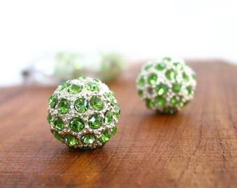 4pcs LARGE 16mm Peridot Green - Silver rhinestone ball charm pendant round beads metal findings 3D