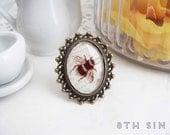 Antique Bronze Bee Cameo Ring