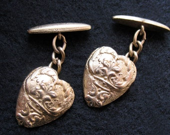 Vintage Gold Heart I. Magnin Unisex Cufflinks