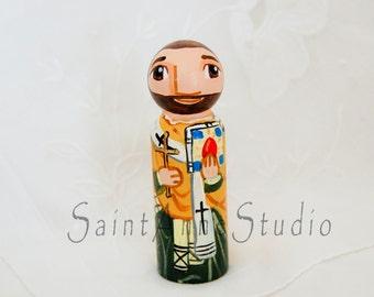 Saint Wojciech or Adalbert of Prague Catholic Saint Peg Doll - Wood Toy - Made to Order