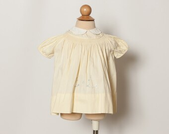 1960s baby girl's dress - vintage 60s baby dress pale yellow