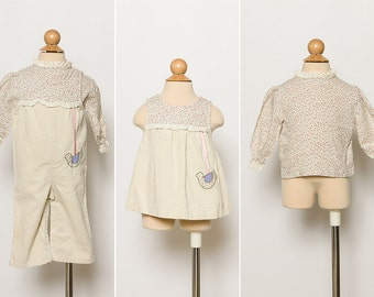 vintage baby girl's dress, overalls, blouse | 3 piece outfit