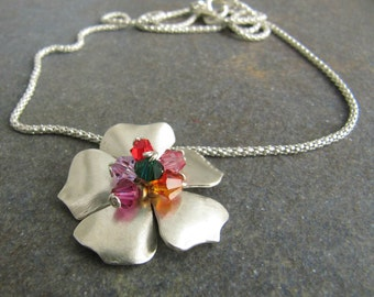 Flower Necklace. Colorful Swarovski Crystal Original Flower Necklace. Floral Gift. Nature art. Leathr Necklace. Mothers day Gift Idea