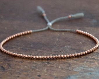 Solid 14k Rose Gold Beaded Friendship Bracelet, delicate bracelet with dainty beads with silk