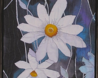 Art Quilt White Clematis Quilted Wall Hanging Hand Painted Fiber Art Quiltsy Handmade