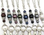 ID Badge Lanyard- Beautiful Pearls-many colors available