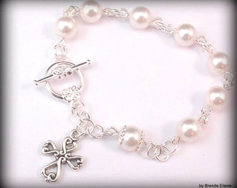 Anglican Prayer Bead Bracelet  with Swarovski Pearls-You choose the color