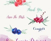 Hand Painted Watercolor flower wreath clip art
