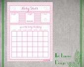 Baby shower game- baby birthday/ due date predictor and stats - Girly pink