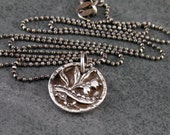 Tiny floral button pendant, handmade eco friendly fine silver antique button necklace-OOAK