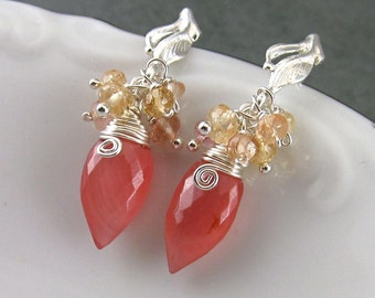 Rhodocrosite earrings w/ imperial topaz on sterling silver post earrings-OOAK